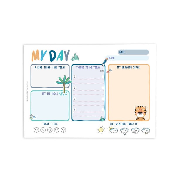 Sprout and Sparrow - My Day planner notepad - Blue