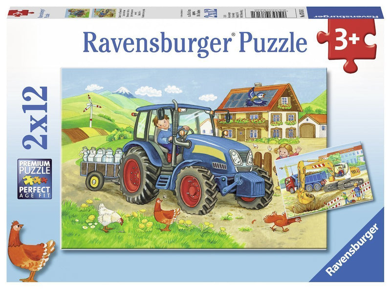 Ravensburger - Hard at Work Puzzle 2x12pc - Toot Toot Toys