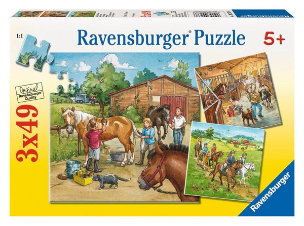 Ravensburger - A Day with Horses Puzzle 3x49pc - Toot Toot Toys