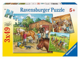Ravensburger - A Day with Horses Puzzle 3x49p