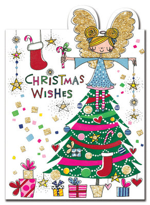 Christmas Cards - Die-cut Flitter - Christmas Wishes/Fairy in Tree
