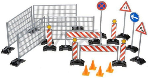 Bruder World Accessories construction Set: Railings, Sit Signs and Pylons (62007) - Toot Toot Toys