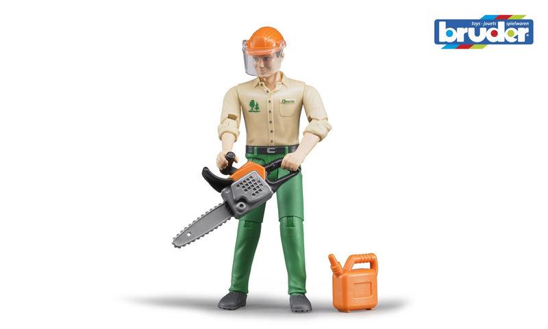 Bruder - Bworld Figure - Forestry Worker with Accessories (60030) - Toot Toot Toys