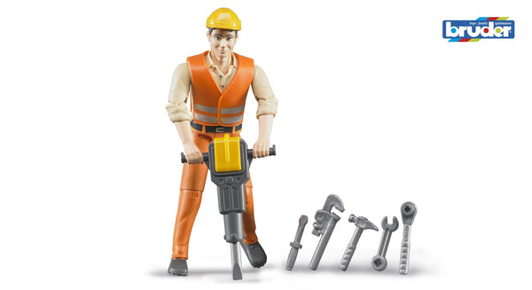 Bruder - Bworld Figure - Construction Worker with Accessories (60020) - Toot Toot Toys