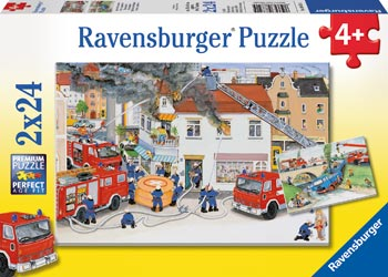 Ravensburger - With the Fire Brigade Puzzle 2x24 pc