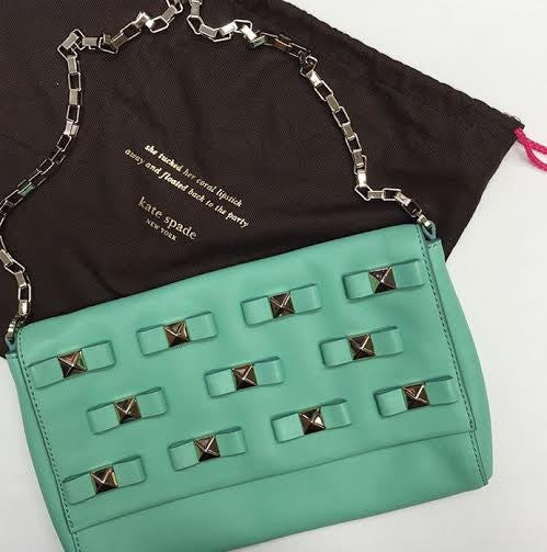 Kate Spade Mint Green Studded Bow Bag
