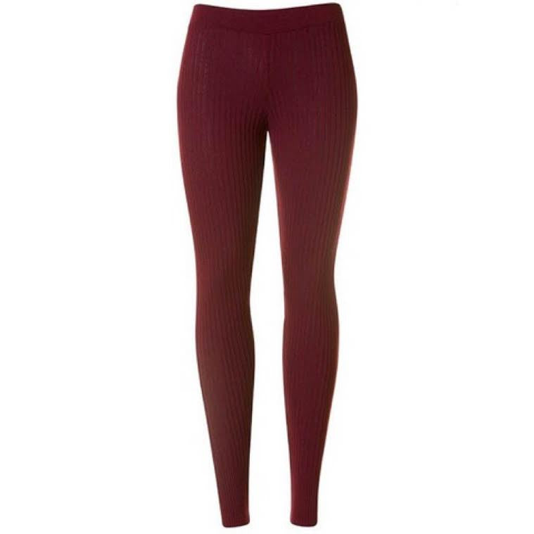 ASOS Maroon Ribbed Leggings (0)