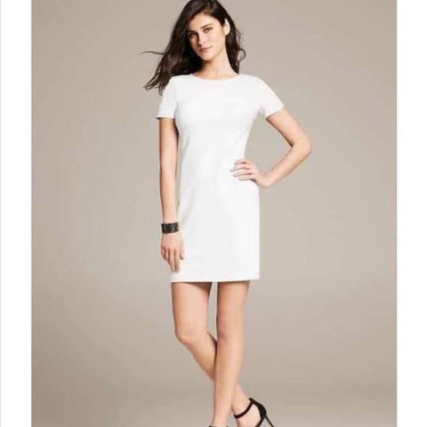 Banana republic White Faux Leather Sleeved Dress (2)