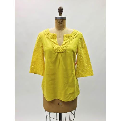 Anthro. Tabitha Yellow Eyelet Tunic (6)