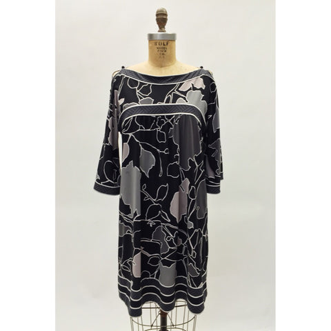 BCBG Grey & Black Shift Dress (L)