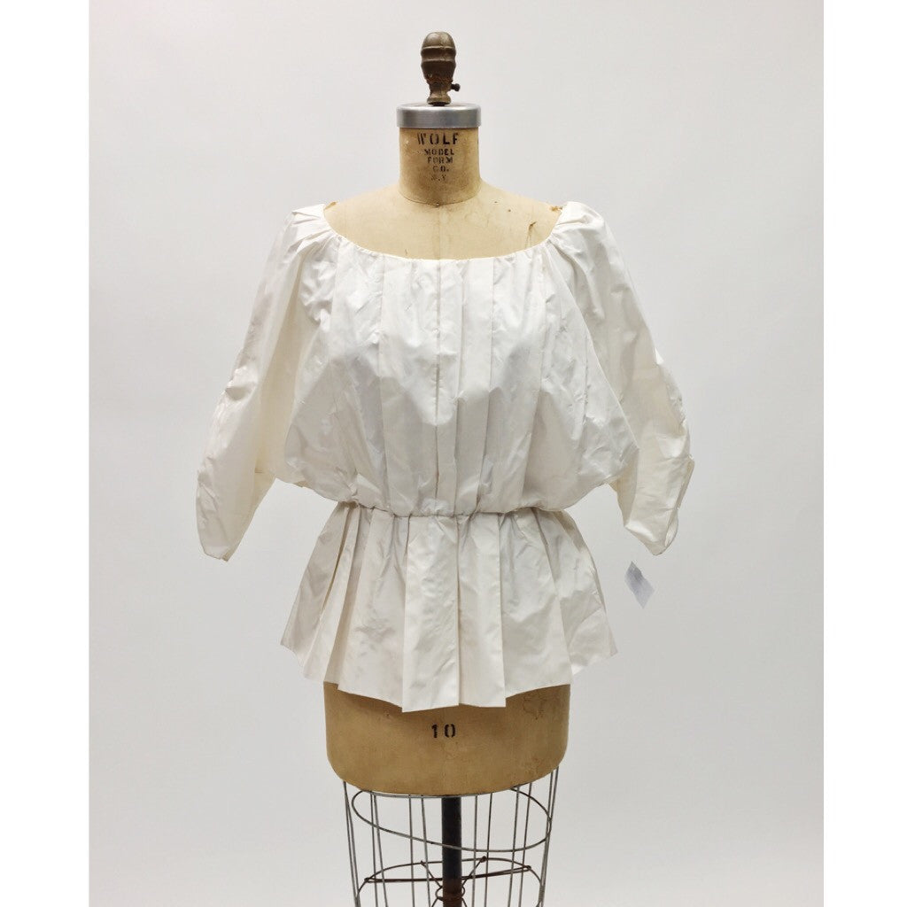 Alice + Olivia Puff Sleeve Pleated Blouse (M)