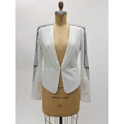 BCBG Maxazria White Embroidered Blazer (Size S)
