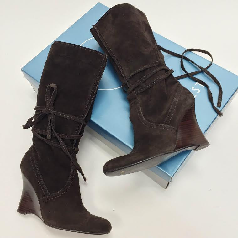 Nine West Suede Wedged Boots (8)