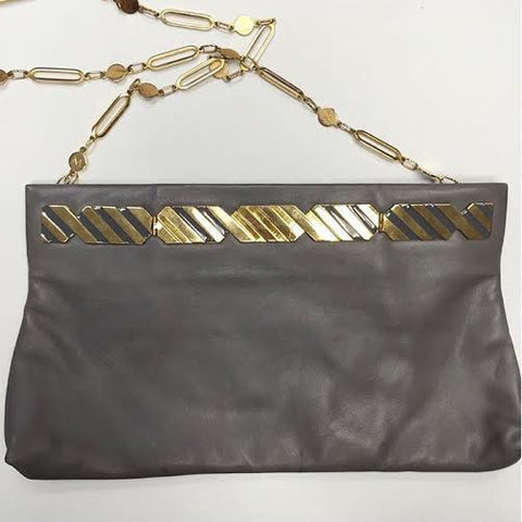 Italian Made Grey Leather Shoulder Bag/ Clutch