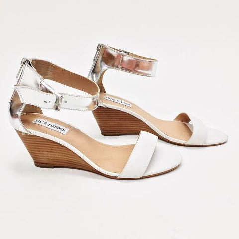 Steve Madden White Metallic Wedges (8.5)