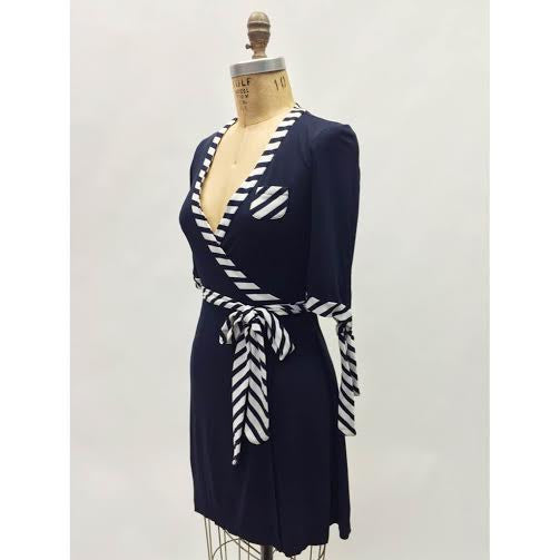 Diane Von Furstenberg Navy Striped Wrap Dress (6)