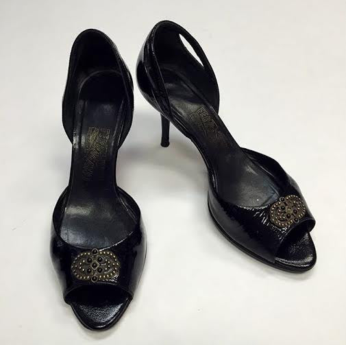 Ferragamo Black Patent Leather Peep Toe Heels (Size 8.5)