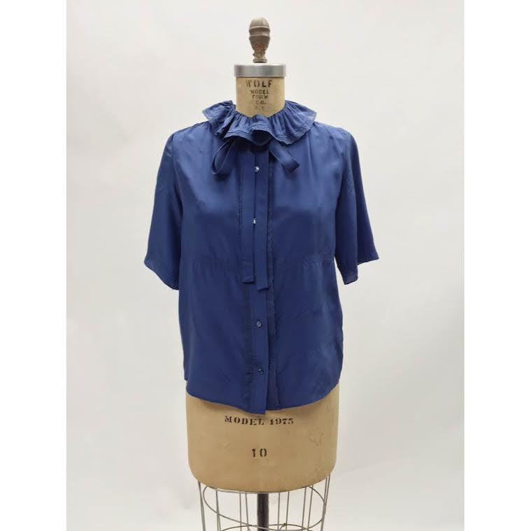 Anthropologie Deep Blue Collared Blouse (M)