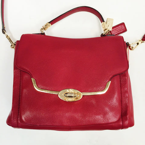 Coach Red Leather Madison Flap Satchel