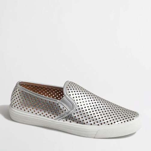 J.Crew Silver Perforated Slip On Sneakers (8)