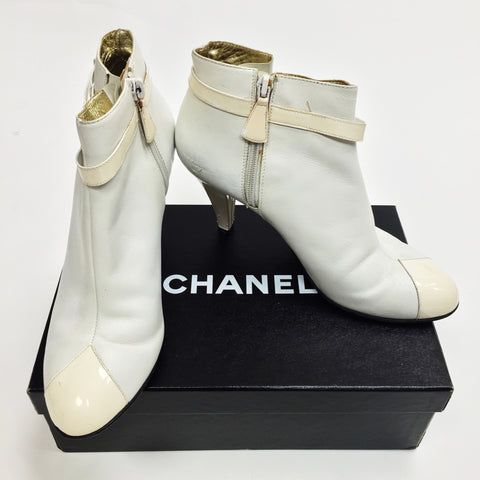 Authentic Chanel White Booties (37.5)
