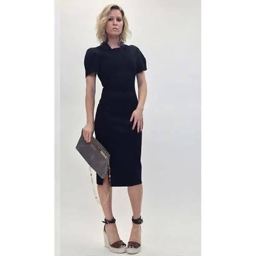 Alexander Wang Short Sleeve Collared Scuba Dress (Size 0)