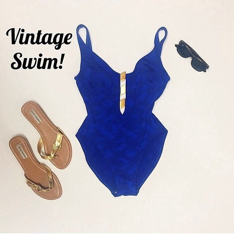 Blue Vintage w/ Gold Hardware Swimsuit