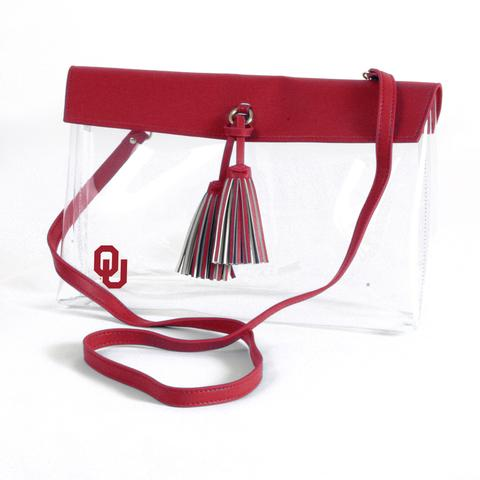 Clear OU Crossbody with Tassels