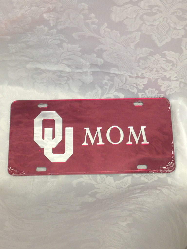 Red/Silver OU Mom License Plate