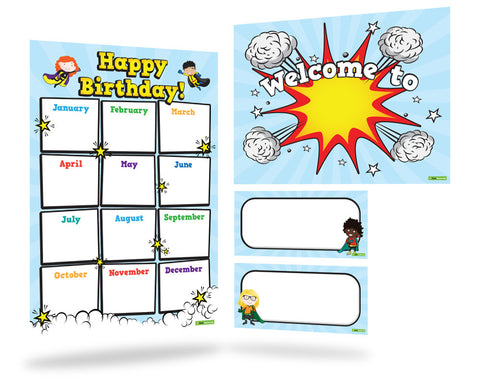 Superheroes Classroom Theme Pack with Sticker Books