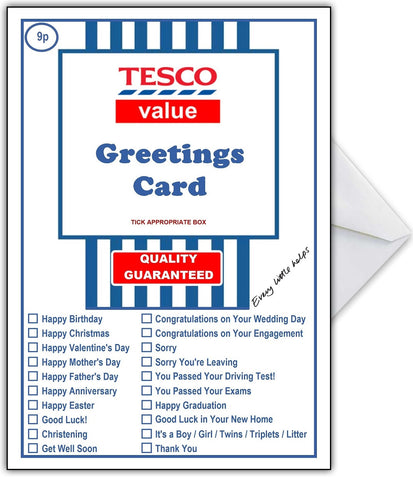 Supermarket Spoof Card - TESCO SUPER VALUE for ANY occasion!