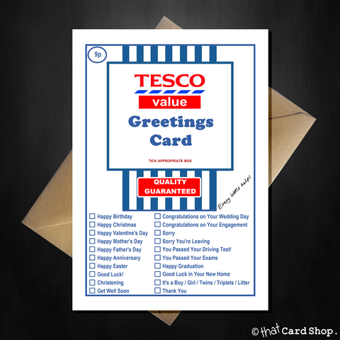 TESCO Value - Funny Joke Greetings card for literally ANY occasion