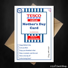 Funny TESCO Value Mothers Day Card - Supermarket Spoof - That Card Shop