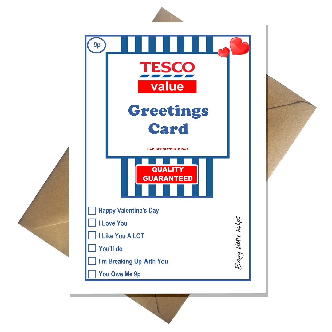 Tesco Value Valentines Card Funny Supermarket Spoof That Card Shop