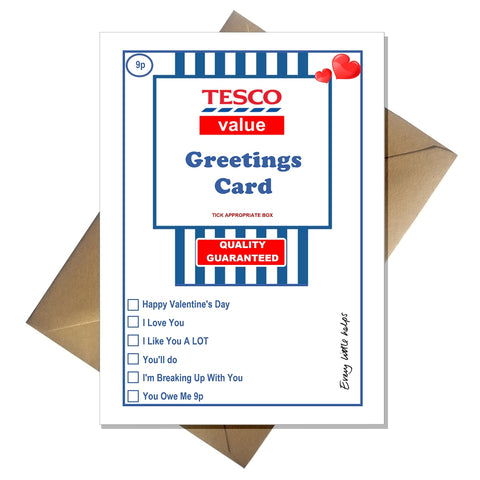 TESCO Value Valentines Card - Funny Supermarket Spoof