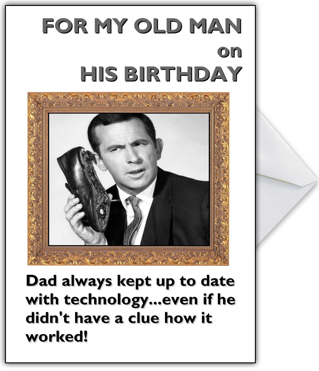 Funny Personalised Birthday Card For A Technophobic Dad