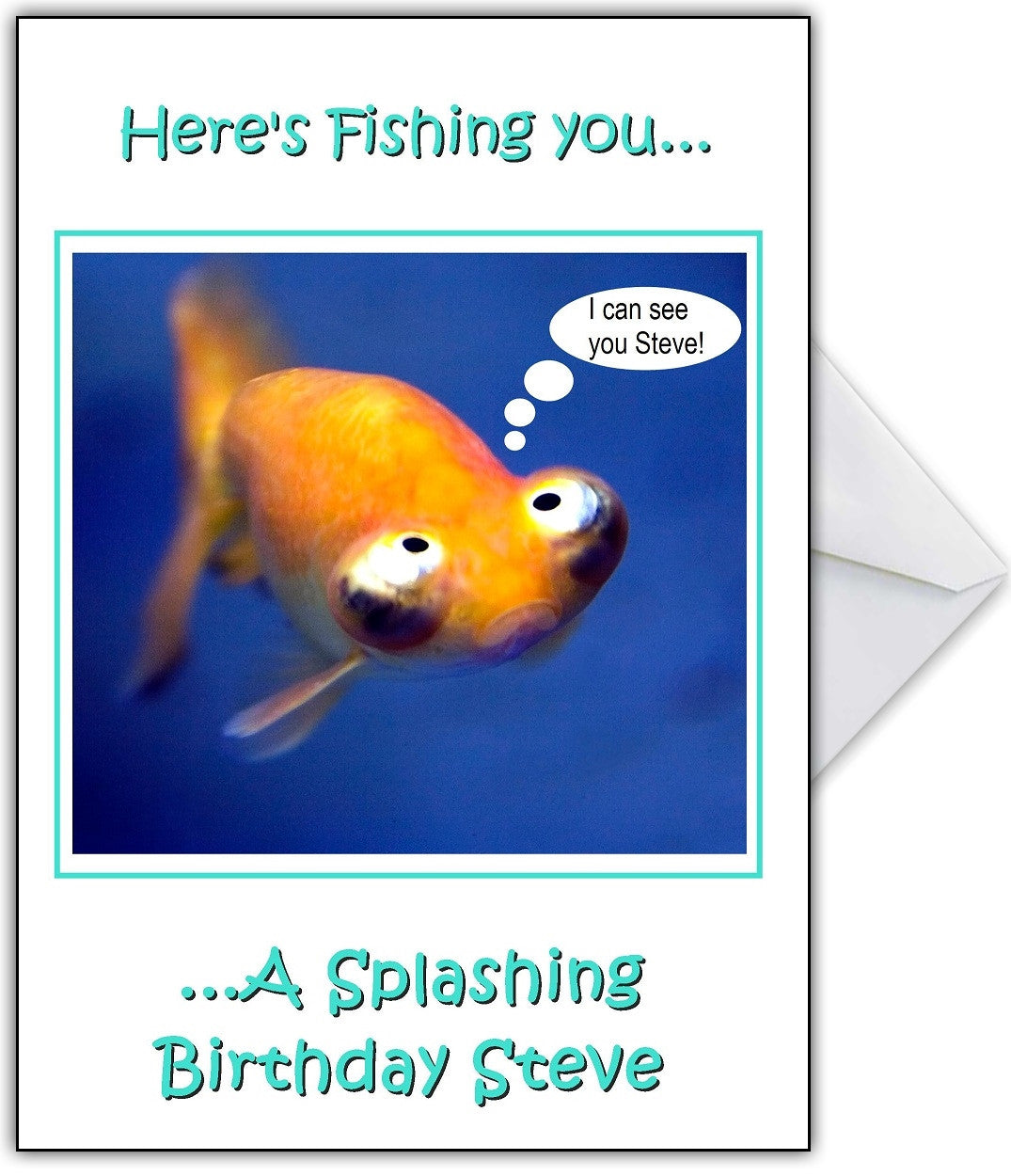 Too Many Fish Puns Funny Fishing Personalised Birthday Card