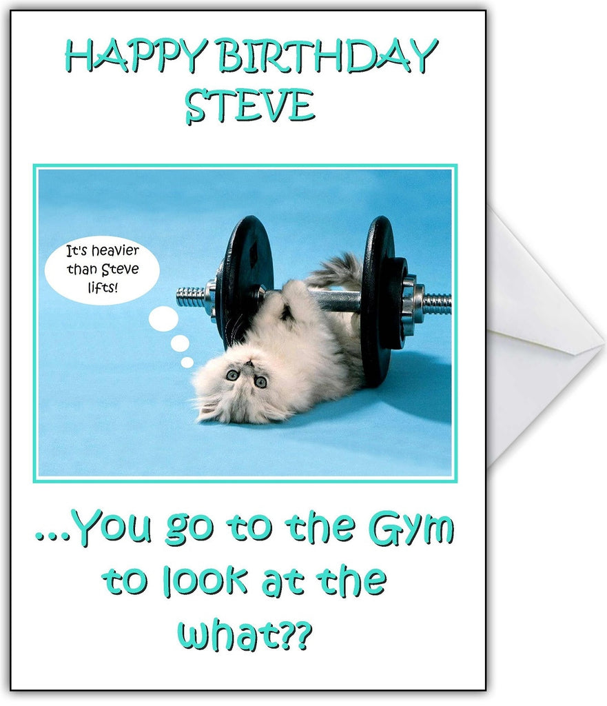 "Funny Gym Cat Personalised Birthday Card ""We know why you go to the gym!"" - That Card Shop"