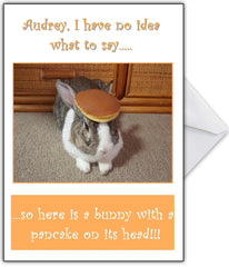 "Funny Rabbit Personalised Birthday Card - ""It's a bunny with a pancake on top!"" - That Card Shop"