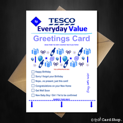 TESCO Everyday Value Birthday Card - Supermarket Spoof Funny A5 Basic Card - That Card Shop