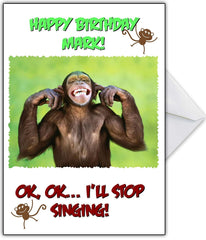 "Cute Personalised Birthday Card ""Even the Monkey can't stand it!"" - That Card Shop"