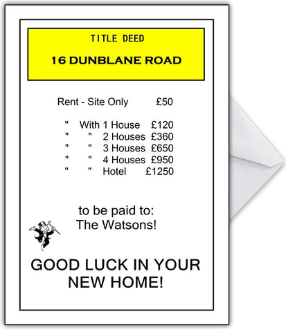MONOPOLY Style Moving Home Property Card