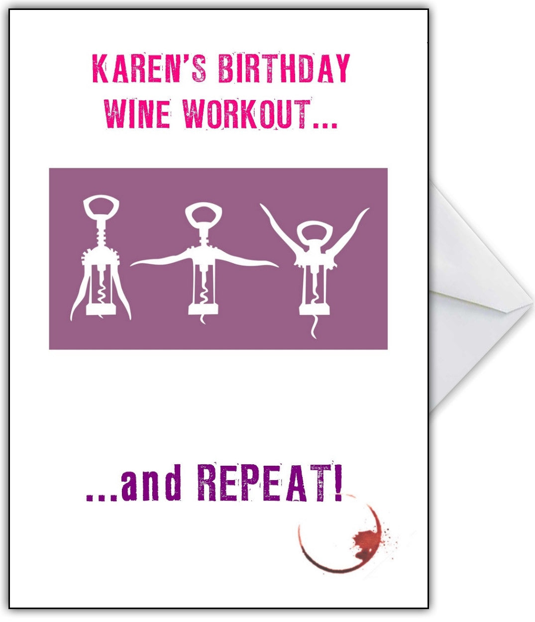 Personalised Funny Wine Aerobics Birthday Card