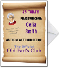 "Funny Old Fart's Birthday Card for her - ""You are officially a member..."" - That Card Shop"
