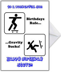 "Skateboarding Birthday Card - ""Gravity Sucks!"" - That Card Shop"
