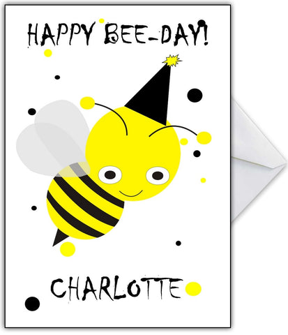 """Bee Happy On Your Birthday!"" Cute busy bee Birthday Card"