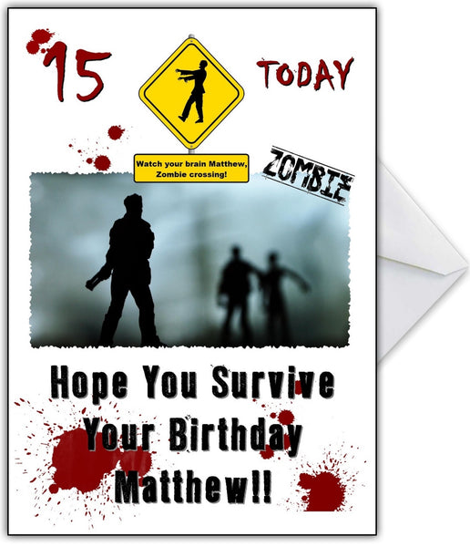 "Funny Zombies Birthday Card ""Can You Survive The Walking"