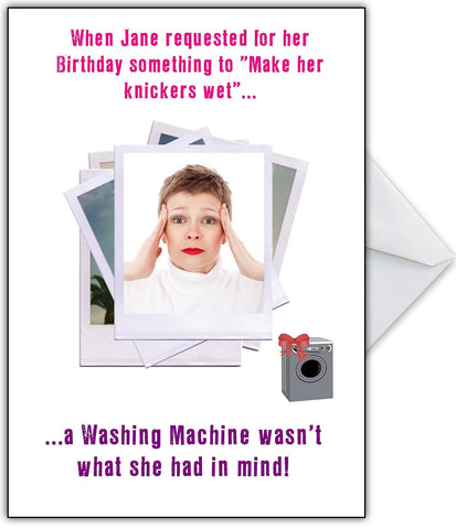 """A Washing Machine??"" Hilarious Photo Humour Birthday Card"