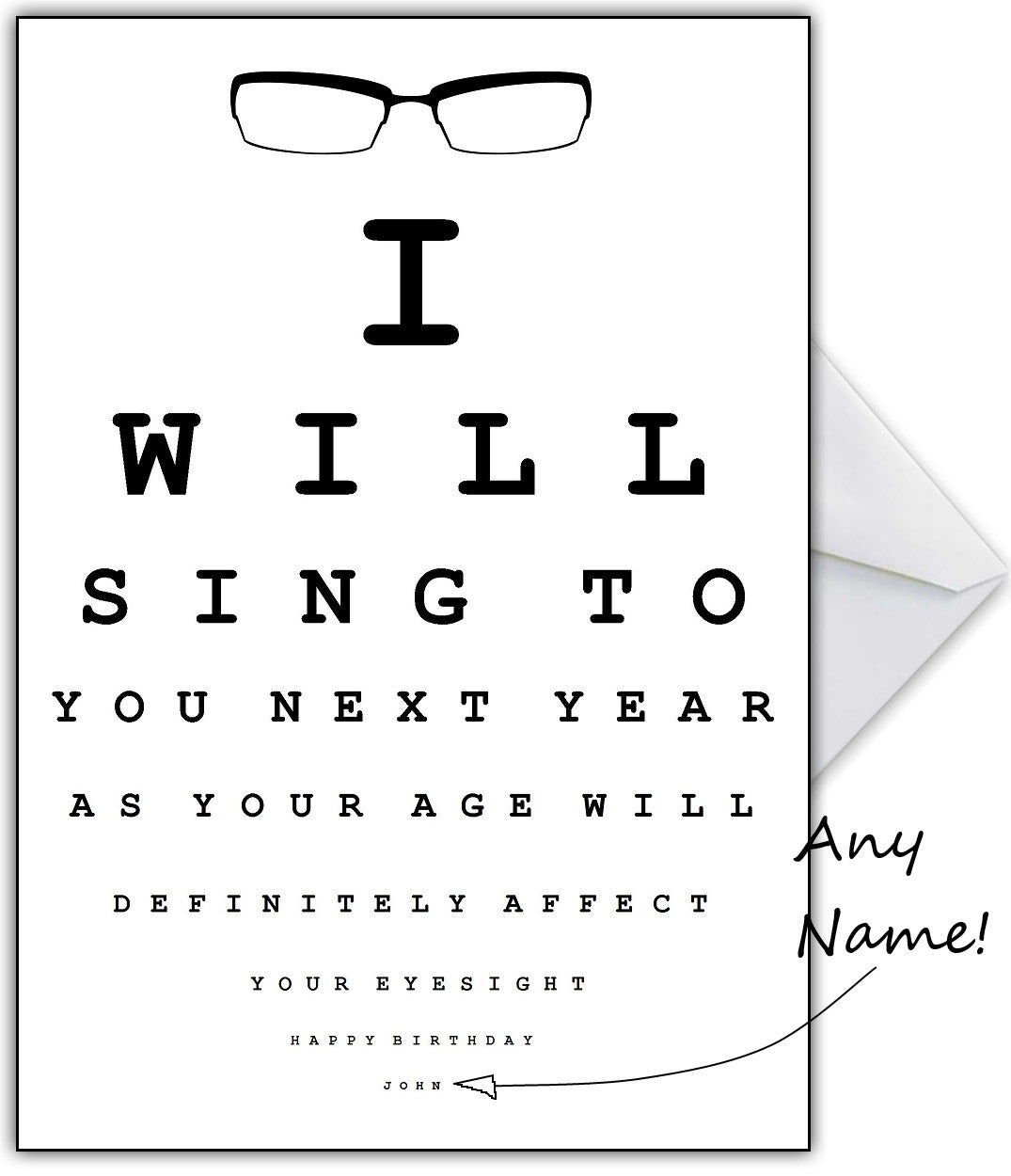 "Funny Eye Test Birthday Card - ""I'll Sing to you next year ..."