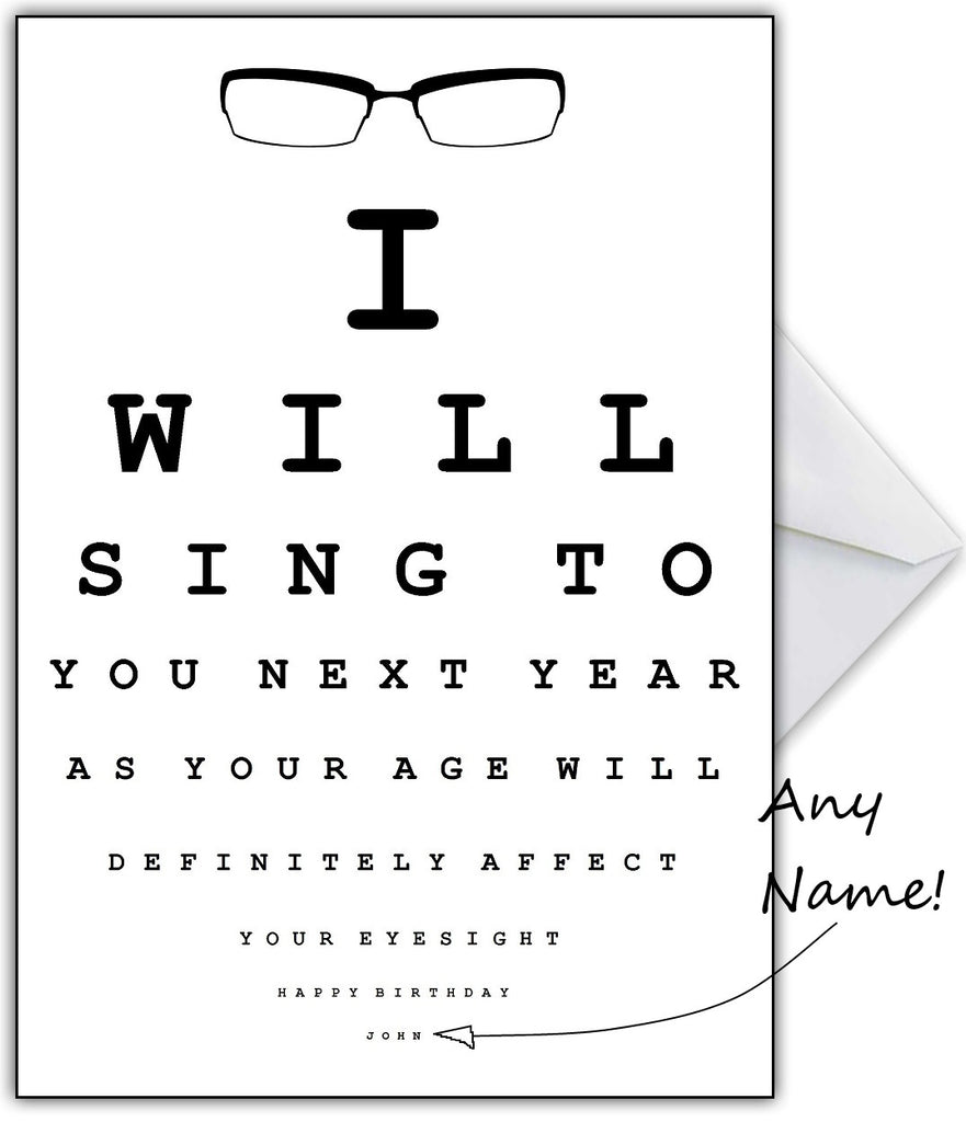 "Funny Eye Test Birthday Card - ""I'll Sing to you next year!"" - That Card Shop"
